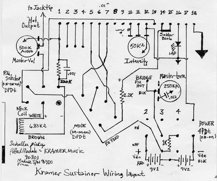 sustainerwiring kramer quad rail wiring diagram diagram wiring diagrams for diy Single Humbucker Wiring-Diagram at alyssarenee.co
