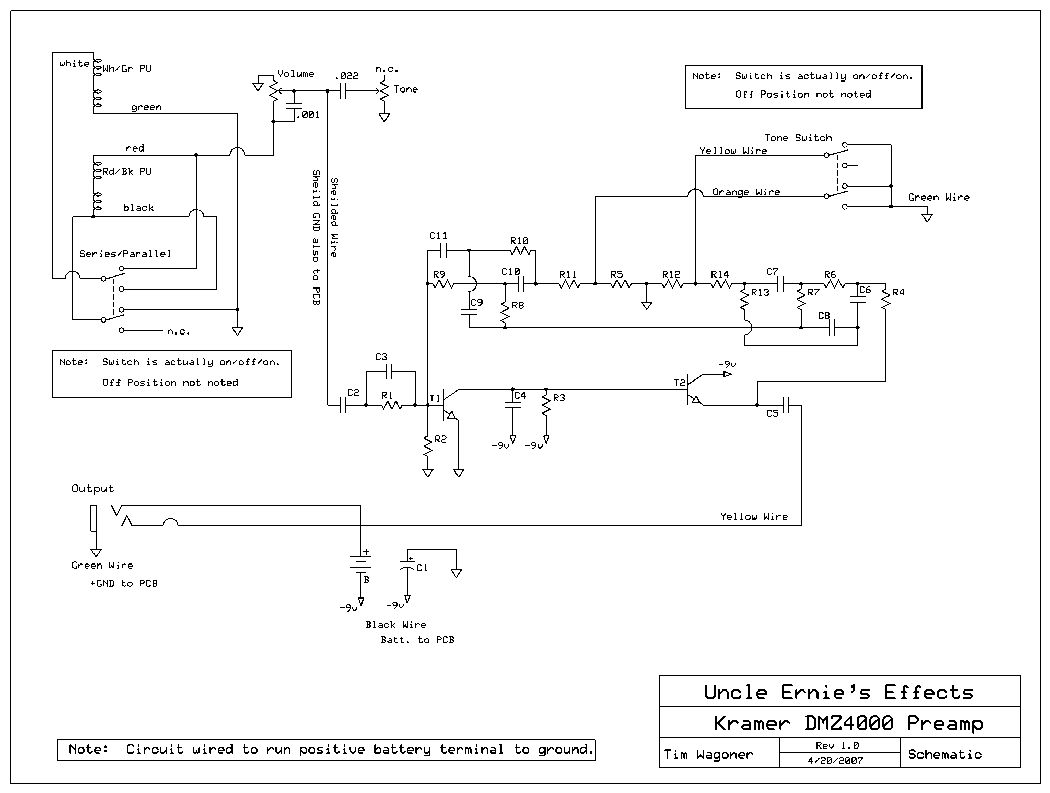 DMZ 4000 Preamp Schematic. Sustainer Wiring Schematic