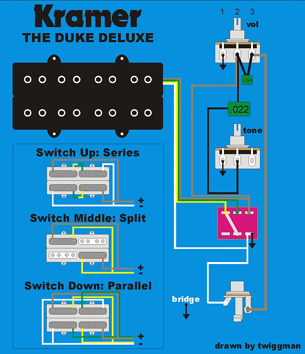wiring dukedeluxe while researching a schaller kramer pickup kramer pacer wiring diagram at creativeand.co