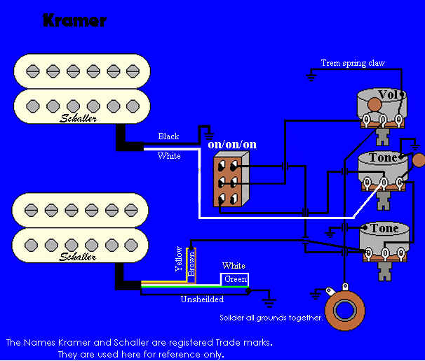 kramer wiring information and referencestock baretta wiring 2 hums, i vol, 2 tones, switch diagram uses schallers pacer imperial and fr signature