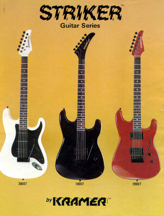 the kramer striker more strat like shapes vs the more kramer type body the enhanced tummy cut also 100st headstocks featured yet another banana headstock