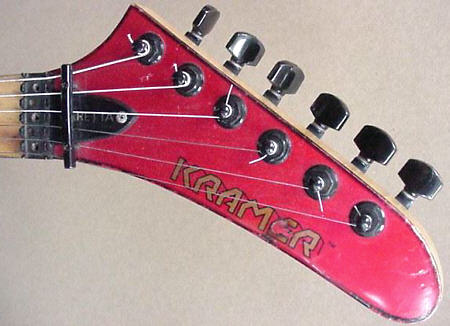 some banana heads will state the model of the guitar directly on the  headstock after the kramer